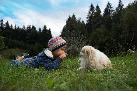 amigos abrazandose: Niño pequeño lindo y su perro rodando por el césped mirando el uno al otro