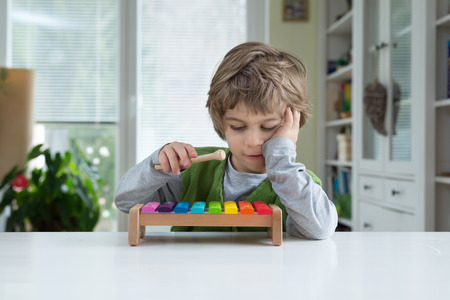 recognize: Cute little playing on xylophone. Musical education, help recognize musical talent, how to support and encourage childrens creativity Stock Photo