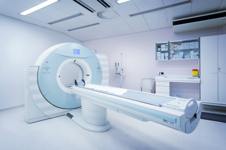 CT - Computerized Tomography Scan Device in Hospital. Medical Equipment and Health Care. 写真素材