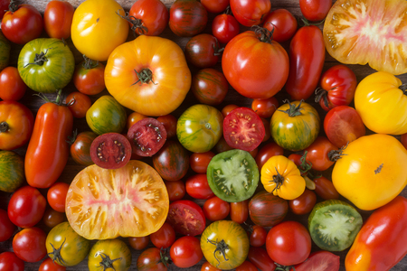 Colorful tomatoes, some sliced, shot from above