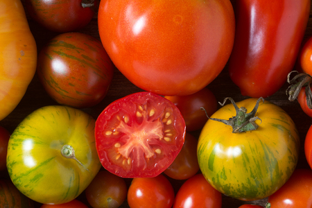 Colorful tomatoes shot from above