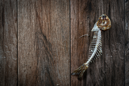 Fish bone on rustic wooden background. Some negative space around. 스톡 콘텐츠
