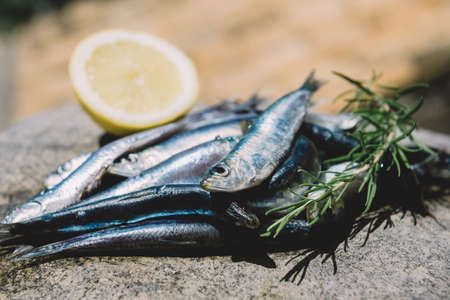 Fresh sardines with lemon and rosemary, ready to be grilled.