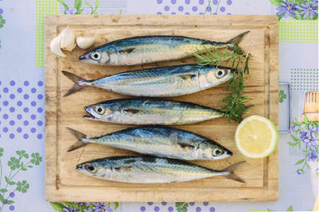 Raw mackerel with claws of garlic and lemon on wooden plate. Fresh fish