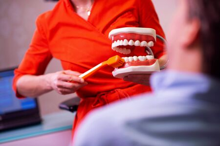 Denstist showing proper tooth-brushing on teeth model dentures. Dental health and hygiene. 스톡 콘텐츠