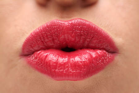Red Lips of a Female Close Up