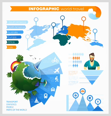 Set of elements for creating an infographic about the world, traveling, people, transport. Material Design, the actual palette of colors, the visual presentation of information. Stock fotó - 61508594