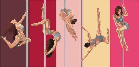 pole dancer: Pole dancer girls. Striptease performance flexible beautiful girls. Fitness on the pole.
