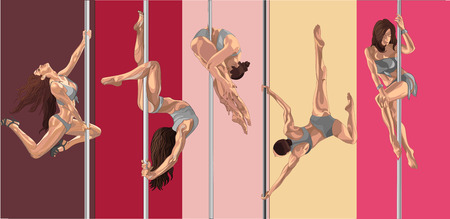 Pole dancer girls. Striptease performance flexible beautiful girls. Fitness on the pole.