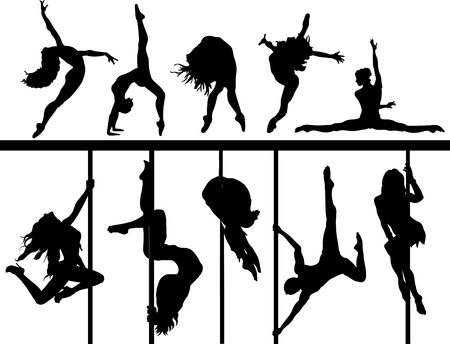 girls dancing. Set of silhouettes pole dancers, brunette girls hanging on the staves. Strong and flexible women make a tricks on the stage Ilustração