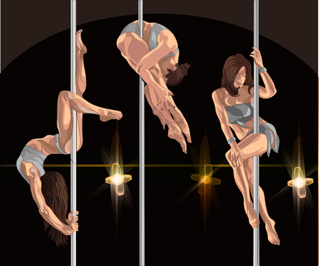 Three girls dancing on poles, perform acrobatic tricks. Dark background and spotlights on the stage. Illustration for a dance club or dance studio