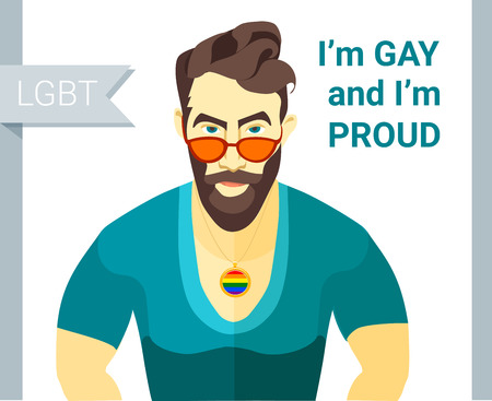 bearded man: illustration Hipster bearded man . Flat style. Gay pride slogan. LGBT couple member. Illustration