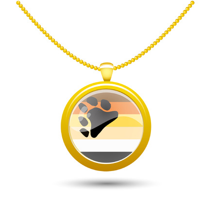 illustration on a white background, isolated object neck pendant on a gold chain. Pendant with the symbol of the gay Bear Brotherhood communitys rainbow flag. Gay pride expression of freedom Illustration