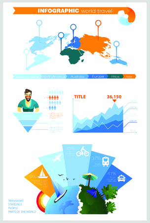 actual: Infographic Elementsabout the world, traveling, people, transport. Material Design, the actual palette of colors, the visual presentation of information.