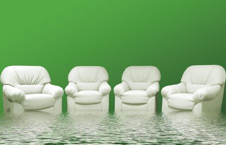 for green leather sofa in inter Stock Photo - 5480543