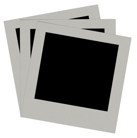 white polaroids: photo on a isolated white background Stock Photo
