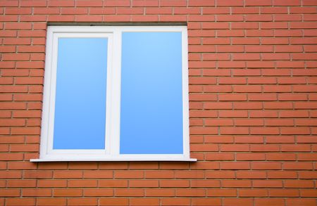 fragment of brick wall with plastic window illustration Stock Illustration - 5481061
