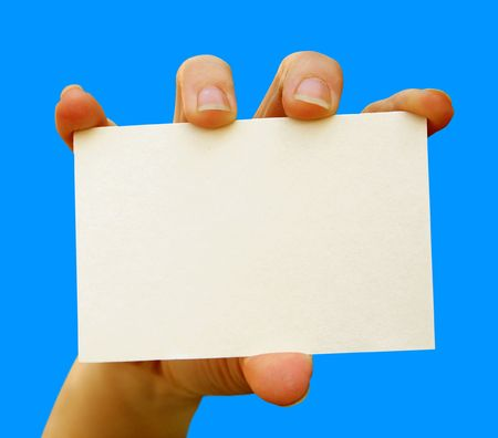 a card blank in a hand photo