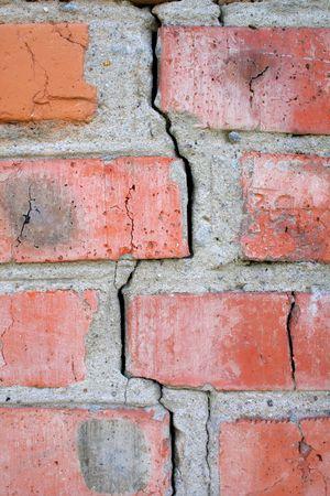 muro rotto: parete rotto rosso sul terremoto
