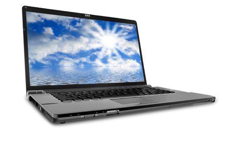 modern laptop on the white Stock Photo
