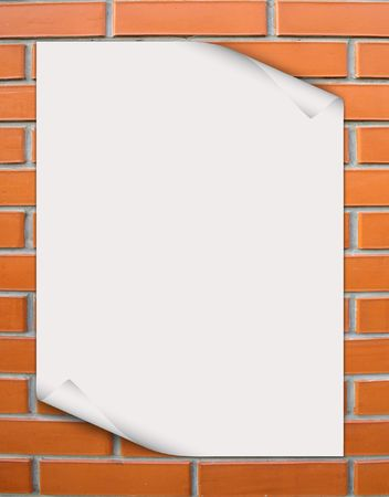 white paper on to the brick Stock Photo - 5559623