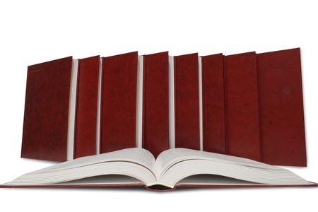 bibliomania: many books on the white Stock Photo