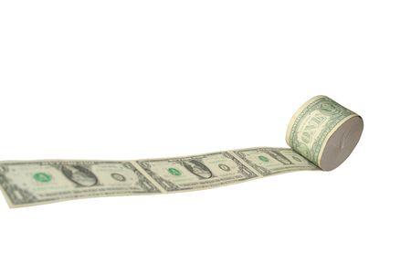 Money toilet paper on white photo