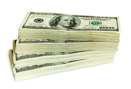 money stack: big pile of money. stack of american dollars Stock Photo