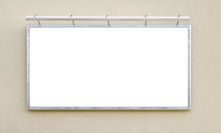 one white billboard for advertising on the wall