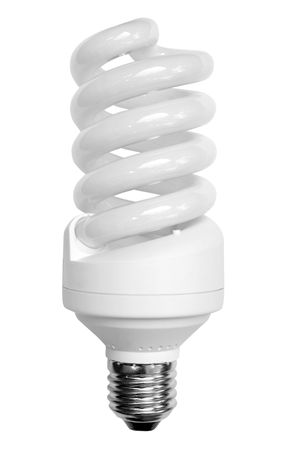 economical: white economical  bulb on the white backgrounds Stock Photo