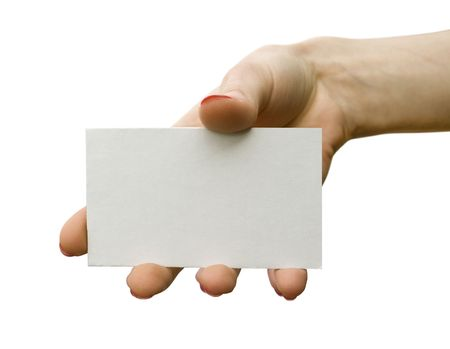 ss: a card blank in a hand on the white