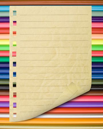 painted lines: A page ripped off from the notebook.