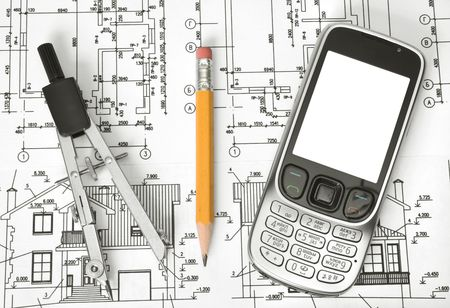 celphone: Close up of architect with blueprints