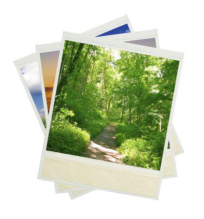 white polaroids: photo on a isolated white background Stock Photo