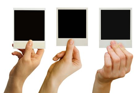 photo card blank in a hand on the white photo