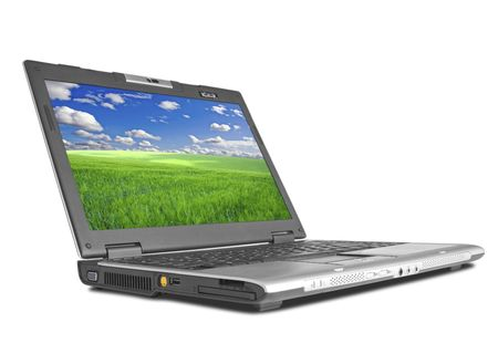 minicomputer: modern laptop isolated on white with shadow Stock Photo