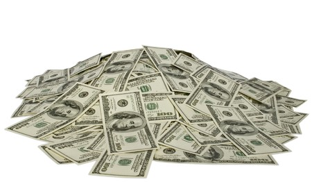 big pile of money. dollars over white background photo