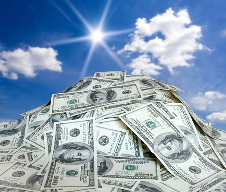 pile of money: big pile of the money. dollars usa Stock Photo