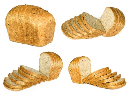 reflaction: The cut loaf of bread with reflaction isolated on white Stock Photo