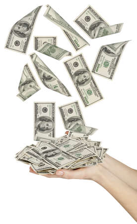 person falling: Many dollars falling on womans hand with money