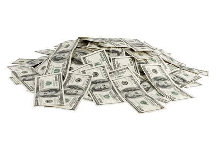 pile of money: big pile of money. dollars over white background