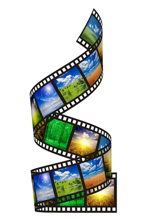 film industry: filmstrip on the white backgrounds Stock Photo