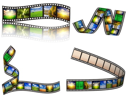 reels: filmstrip on the white backgrounds Stock Photo