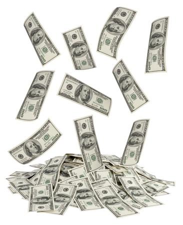 großen Haufen Geld. US-Dollar gegenüber dem weißen Hintergrund Standard-Bild