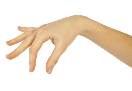 women hand on the white backgrounds photo