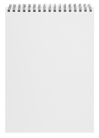 todo: blank background. paper spiral notebook isolated on white