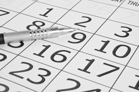 paper calendar on white backgrounds Stock Photo