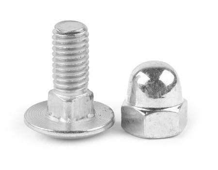 tuercas y tornillos: tornillo aislado en el fondo blanco