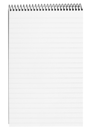 blank background. paper spiral notebook isolated on white Stock Photo - 10528491
