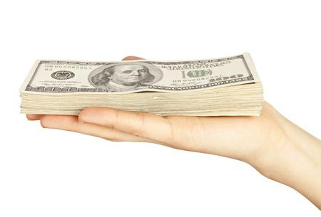 money rain: Many dollars falling on womans hand with dollars